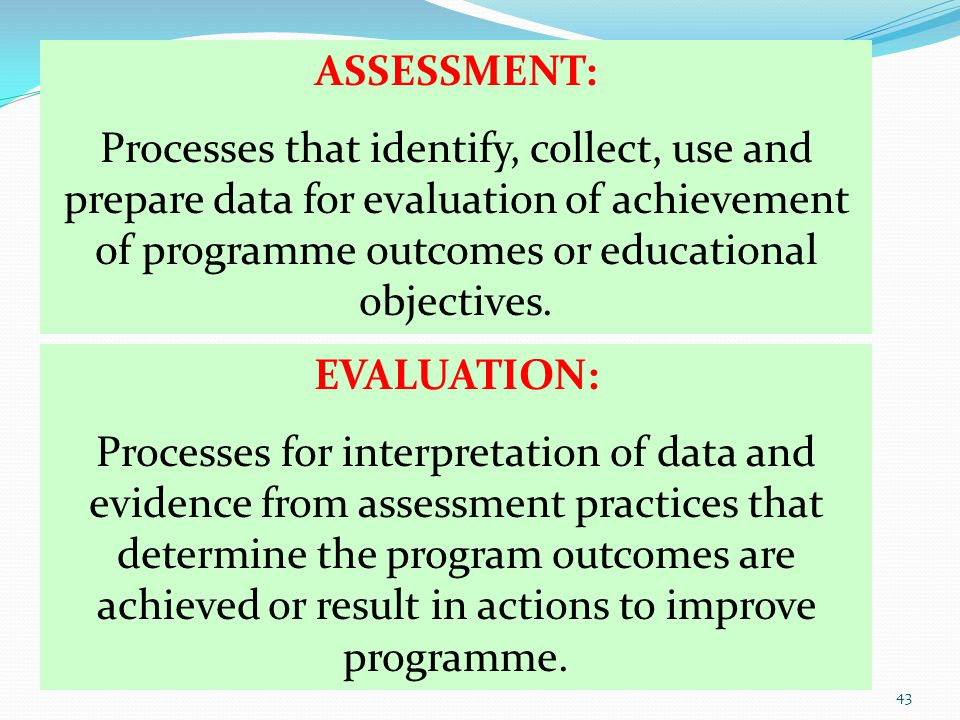 ASSESSMENT: Processes that identify, collect, use and prepare data for evaluation of achievement of programme outcomes or educational objectives. EVAL