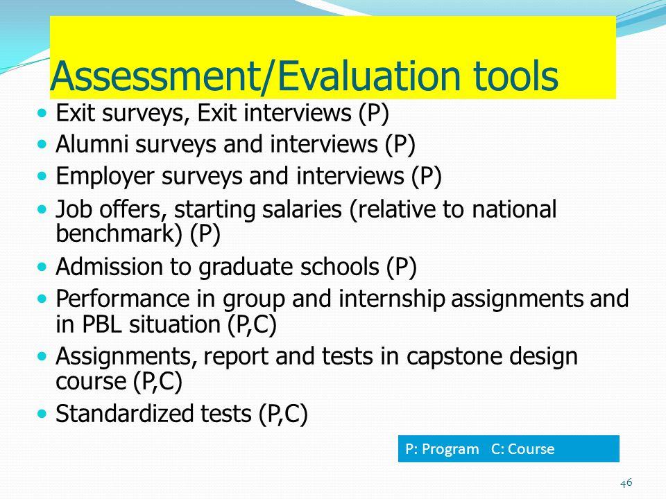 Assessment/Evaluation tools Exit surveys, Exit interviews (P) Alumni surveys and interviews (P) Employer surveys and interviews (P) Job offers, starti