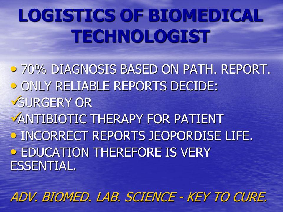 LOGISTICS OF BIOMEDICAL TECHNOLOGIST 70% DIAGNOSIS BASED ON PATH.