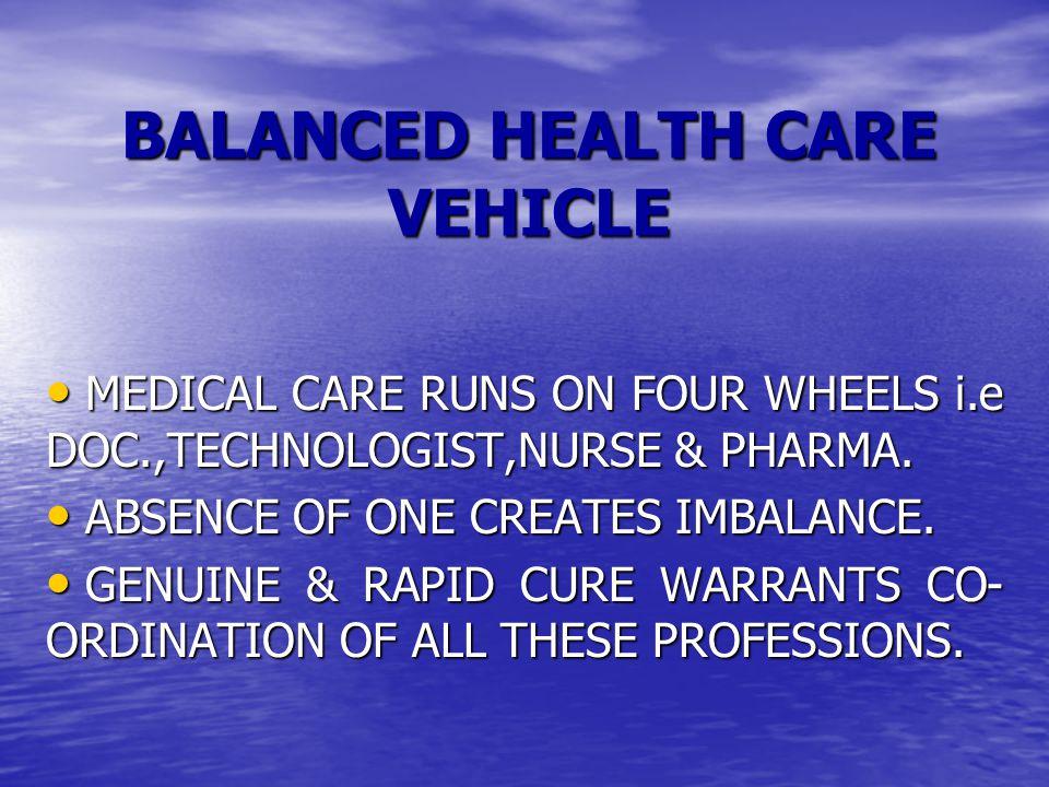 BALANCED HEALTH CARE VEHICLE MEDICAL CARE RUNS ON FOUR WHEELS i.e DOC.,TECHNOLOGIST,NURSE & PHARMA.
