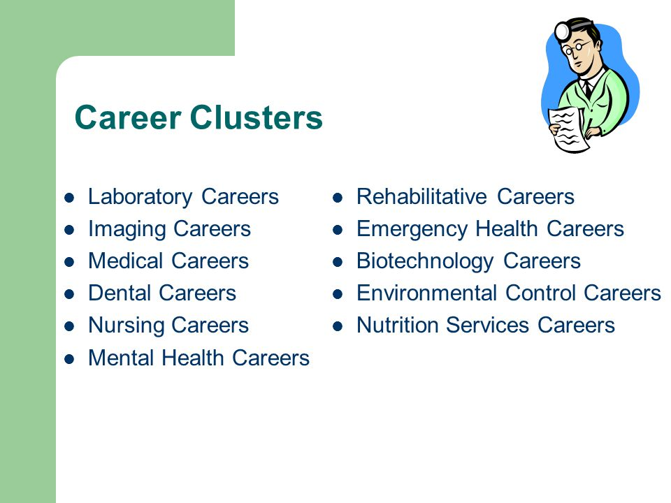 Career Clusters Laboratory Careers Imaging Careers Medical Careers Dental Careers Nursing Careers Mental Health Careers Rehabilitative Careers Emergency Health Careers Biotechnology Careers Environmental Control Careers Nutrition Services Careers