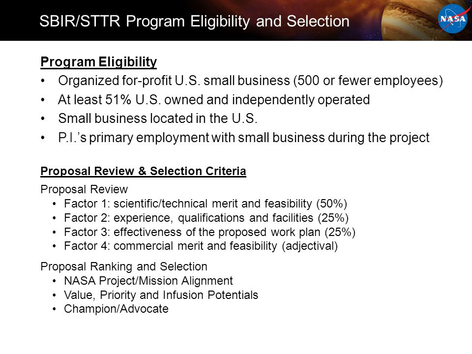 Program Eligibility Organized for-profit U.S.