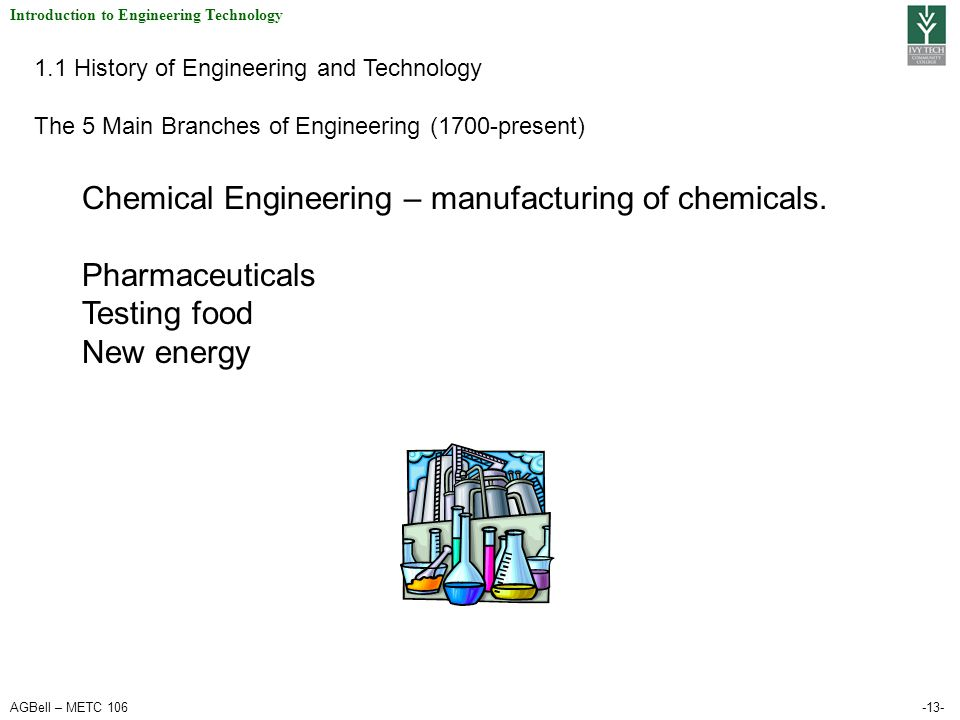 AGBell – METC 106-13- Introduction to Engineering Technology 1.1 History of Engineering and Technology The 5 Main Branches of Engineering (1700-present) Chemical Engineering – manufacturing of chemicals.
