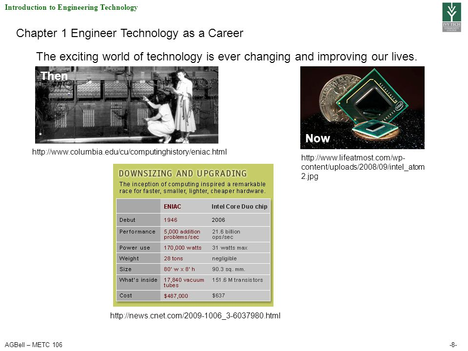 AGBell – METC 106-8- Introduction to Engineering Technology Chapter 1 Engineer Technology as a Career The exciting world of technology is ever changin