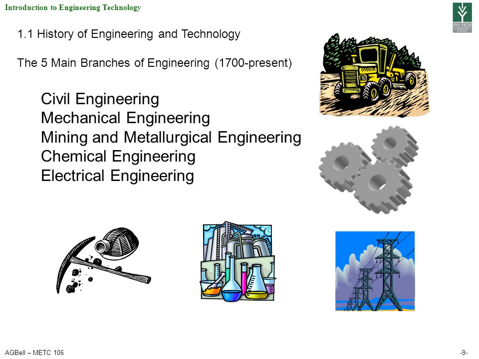 AGBell – METC 106-9- Introduction to Engineering Technology 1.1 History of Engineering and Technology The 5 Main Branches of Engineering (1700-present
