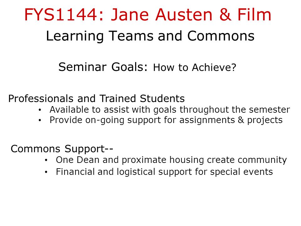 FYS1144: Jane Austen & Film Learning Teams and Commons Seminar Goals: How to Achieve.
