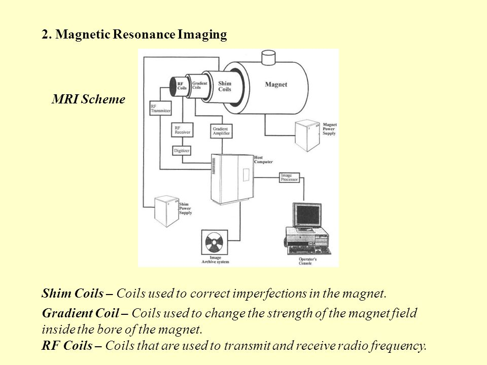 2. Magnetic Resonance Imaging MRI Scheme Shim Coils – Coils used to correct imperfections in the magnet. Gradient Coil – Coils used to change the stre