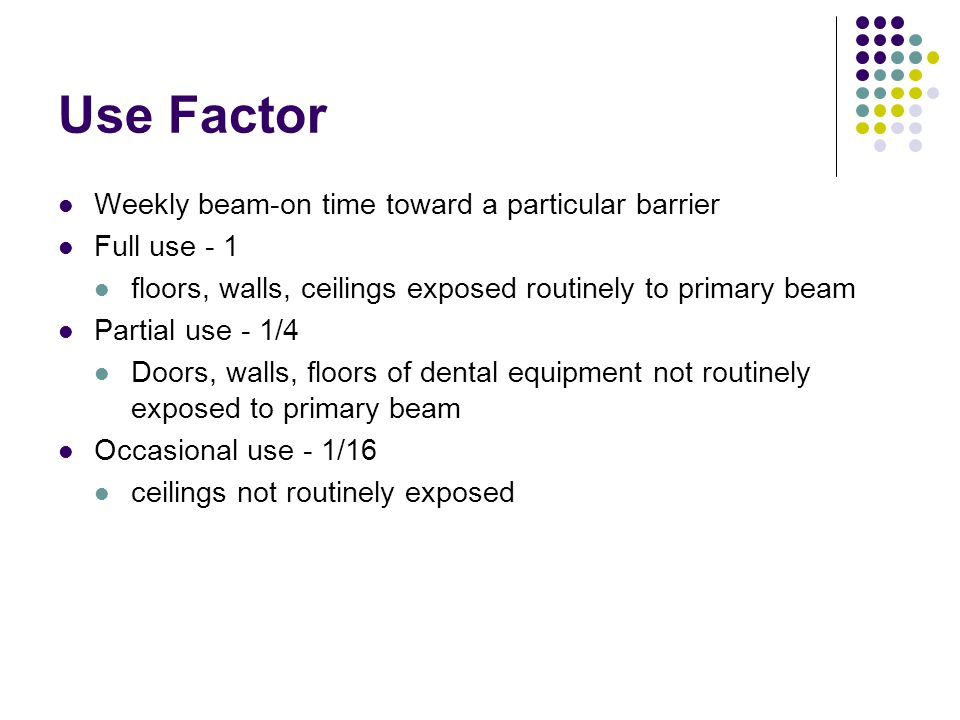 Use Factor Weekly beam-on time toward a particular barrier Full use - 1 floors, walls, ceilings exposed routinely to primary beam Partial use - 1/4 Doors, walls, floors of dental equipment not routinely exposed to primary beam Occasional use - 1/16 ceilings not routinely exposed
