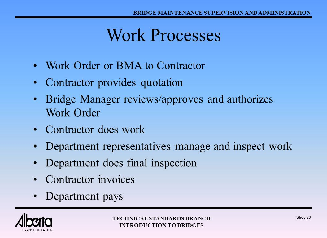 BRIDGE MAINTENANCE SUPERVISION AND ADMINISTRATION TECHNICAL STANDARDS BRANCH INTRODUCTION TO BRIDGES TRANSPORTATION Slide 20 Work Processes Work Order or BMA to Contractor Contractor provides quotation Bridge Manager reviews/approves and authorizes Work Order Contractor does work Department representatives manage and inspect work Department does final inspection Contractor invoices Department pays