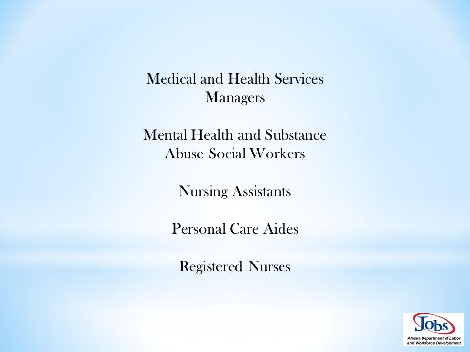 Medical and Health Services Managers Mental Health and Substance Abuse Social Workers Nursing Assistants Personal Care Aides Registered Nurses