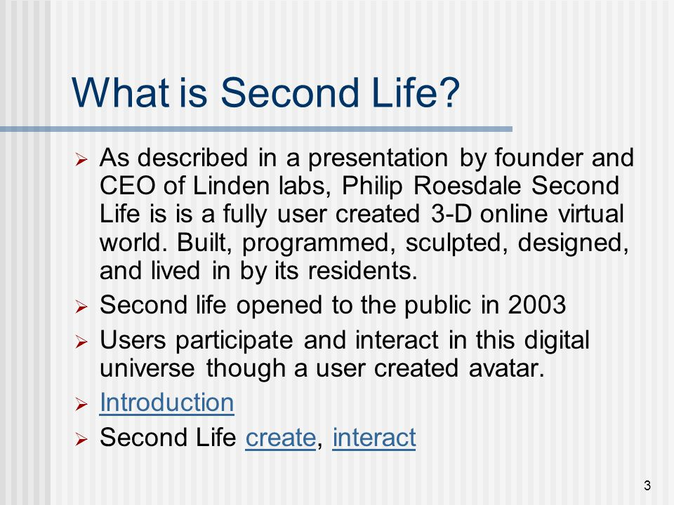 3 What is Second Life.