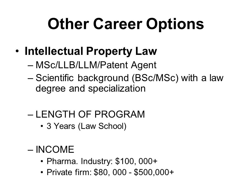 Other Career Options Intellectual Property Law –MSc/LLB/LLM/Patent Agent –Scientific background (BSc/MSc) with a law degree and specialization –LENGTH
