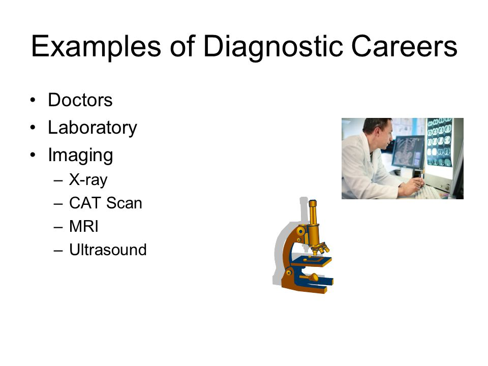 Examples of Diagnostic Careers Doctors Laboratory Imaging –X-ray –CAT Scan –MRI –Ultrasound