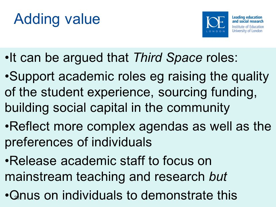 23 Adding value It can be argued that Third Space roles: Support academic roles eg raising the quality of the student experience, sourcing funding, building social capital in the community Reflect more complex agendas as well as the preferences of individuals Release academic staff to focus on mainstream teaching and research but Onus on individuals to demonstrate this