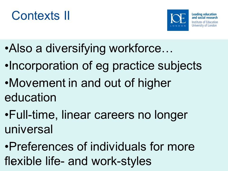 4 Contexts II Also a diversifying workforce… Incorporation of eg practice subjects Movement in and out of higher education Full-time, linear careers no longer universal Preferences of individuals for more flexible life- and work-styles