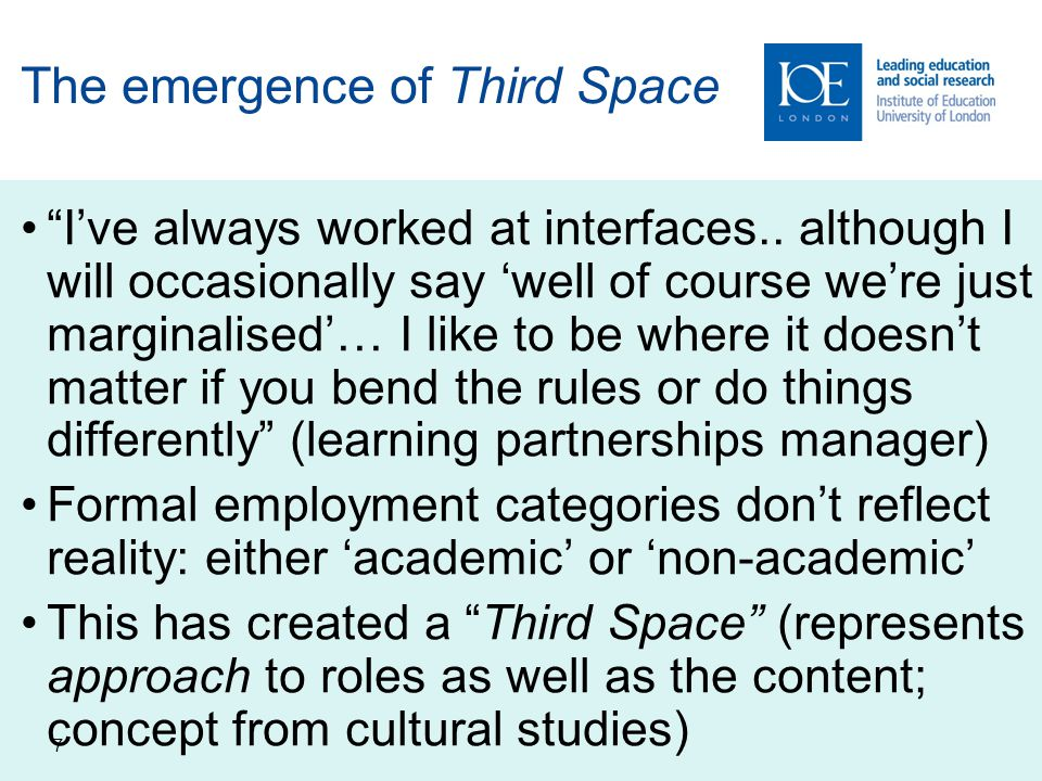 7 The emergence of Third Space I've always worked at interfaces..