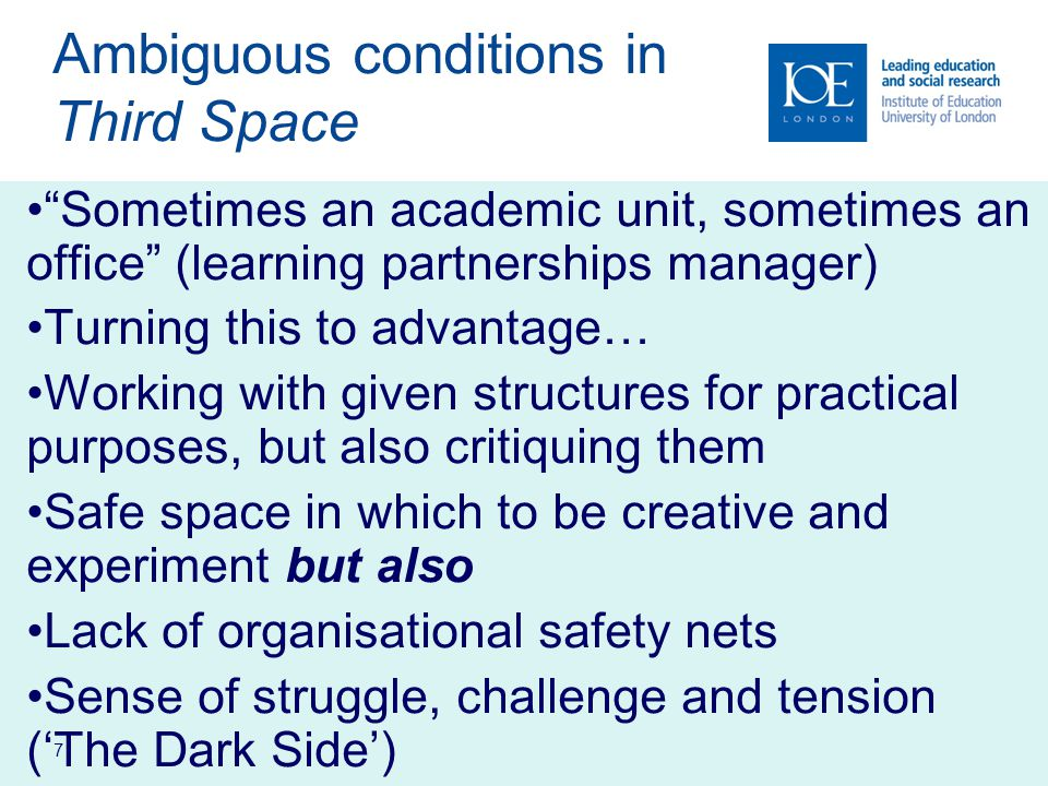 8 Examples of Third Space activity Learning support eg tutoring, programme design/documentation, study skills/academic literacy Community partnership eg employer engagement, workplace learning, widening participation/outreach Web-based learning eg online programme design/ development/adaptation, web-based discussion fora Research enterprise eg preparation of bids, knowledge transfer, spin out, bespoke programmes for industry Institutional research into eg student recruitment & outcomes, benchmarking, educational practice