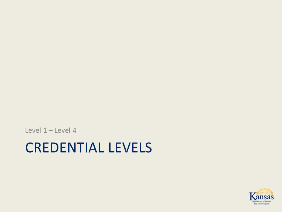 CREDENTIAL LEVELS Level 1 – Level 4