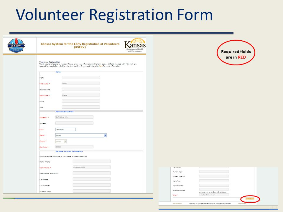 Volunteer Registration Form Required fields are in RED