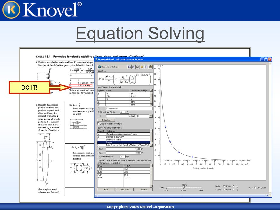 Copyright © 2006 Knovel Corporation Equation Solving DO IT!