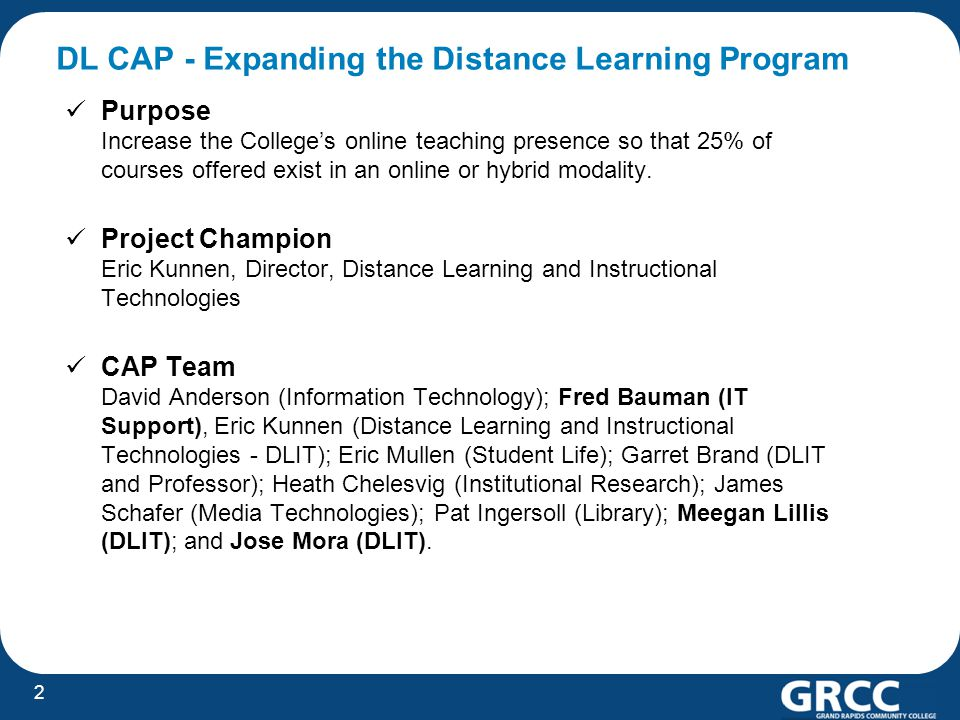 DL CAP - Expanding the Distance Learning Program Purpose Increase the College's online teaching presence so that 25% of courses offered exist in an on