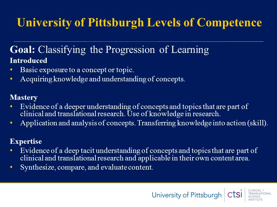 University of Pittsburgh Levels of Competence Goal: Classifying the Progression of Learning Introduced Basic exposure to a concept or topic.