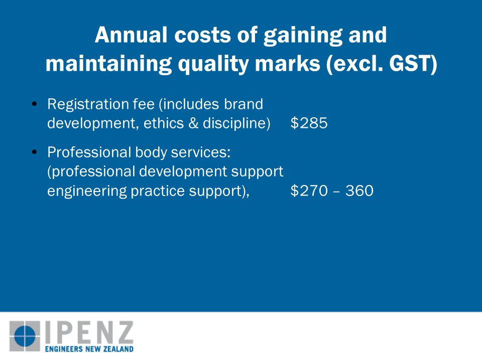 Annual costs of gaining and maintaining quality marks (excl.