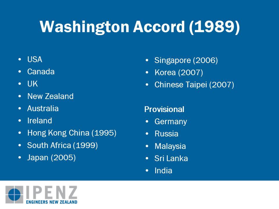 Washington Accord (1989) USA Canada UK New Zealand Australia Ireland Hong Kong China (1995) South Africa (1999) Japan (2005) Singapore (2006) Korea (2007) Chinese Taipei (2007) Provisional Germany Russia Malaysia Sri Lanka India