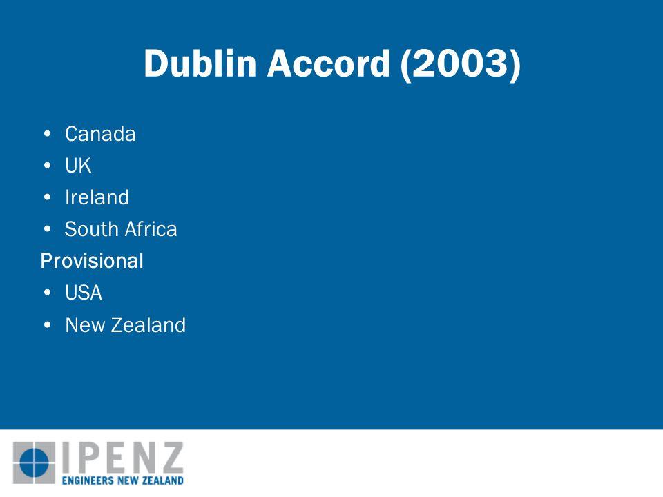 Dublin Accord (2003) Canada UK Ireland South Africa Provisional USA New Zealand