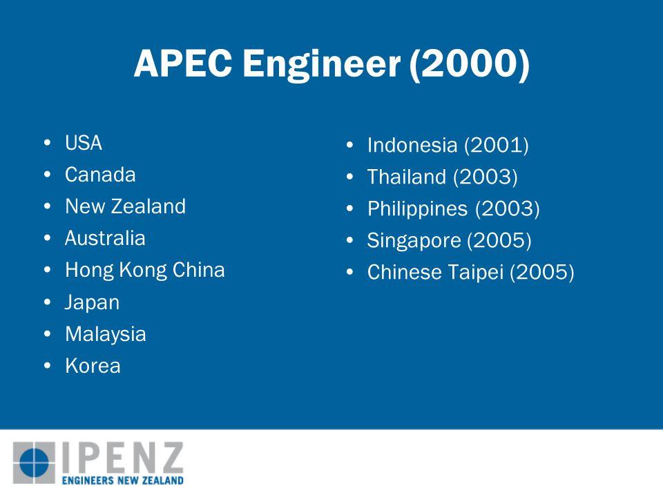 APEC Engineer (2000) USA Canada New Zealand Australia Hong Kong China Japan Malaysia Korea Indonesia (2001) Thailand (2003) Philippines (2003) Singapore (2005) Chinese Taipei (2005)