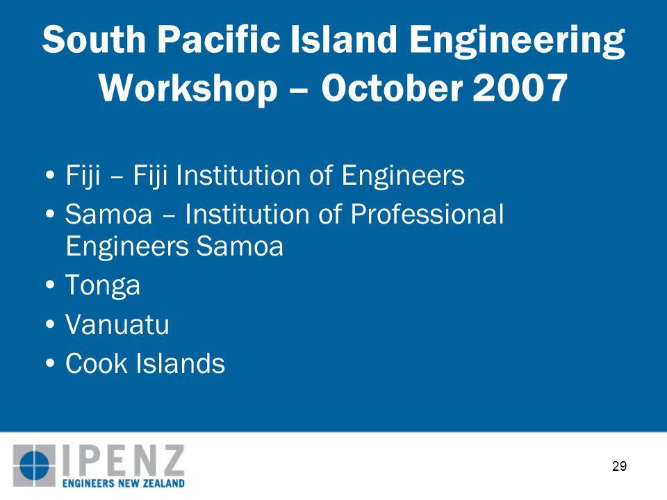 29 South Pacific Island Engineering Workshop – October 2007 Fiji – Fiji Institution of Engineers Samoa – Institution of Professional Engineers Samoa Tonga Vanuatu Cook Islands