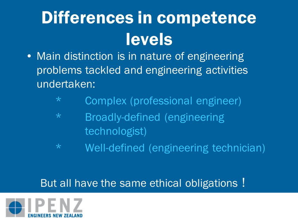 Demonstrating competence for independent practice Accredited University Qualification 3-7 years experience Evaluation by experienced engineers Membership of Professional Body Lifetime professional standing Mentoring & Graduate Development programme Initial Competence Assessment Registration e.g.