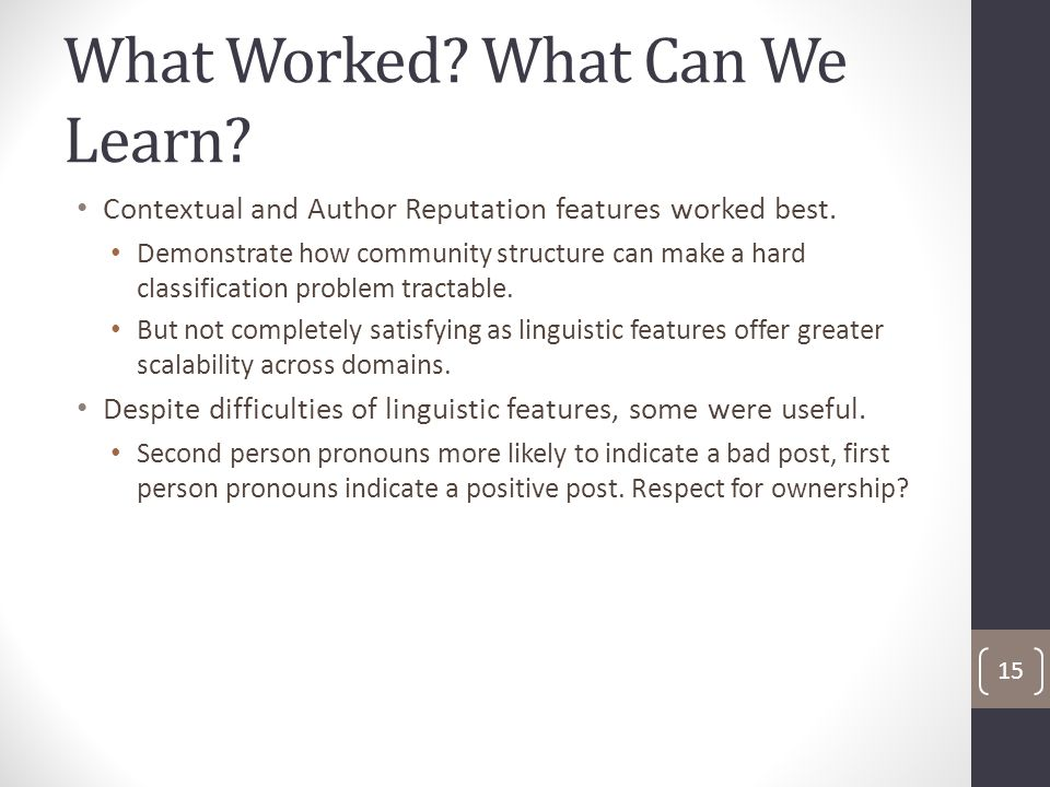 What Worked. What Can We Learn. Contextual and Author Reputation features worked best.