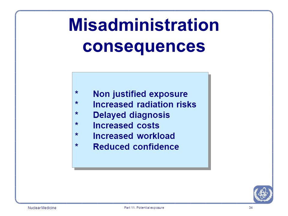 Nuclear Medicine Part 11. Potential exposure33 MISADMINISTRATION IN NUCLEAR MEDICINE 0 10 20 30 40 50 60 70 80 90 wrong pharmaceutical wrong patient w