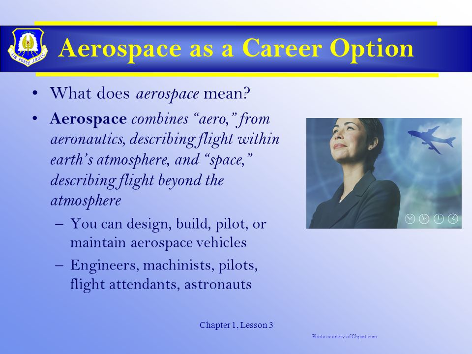 Chapter 1, Lesson 3 Aerospace as a Career Option What does aerospace mean.