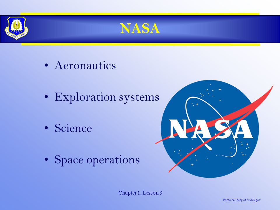 Chapter 1, Lesson 3 NASA Aeronautics Exploration systems Science Space operations Photo courtesy of NASA.gov