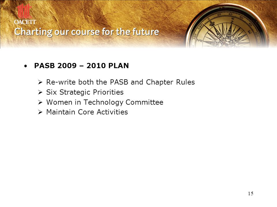 15 PASB 2009 – 2010 PLAN  Re-write both the PASB and Chapter Rules  Six Strategic Priorities  Women in Technology Committee  Maintain Core Activit