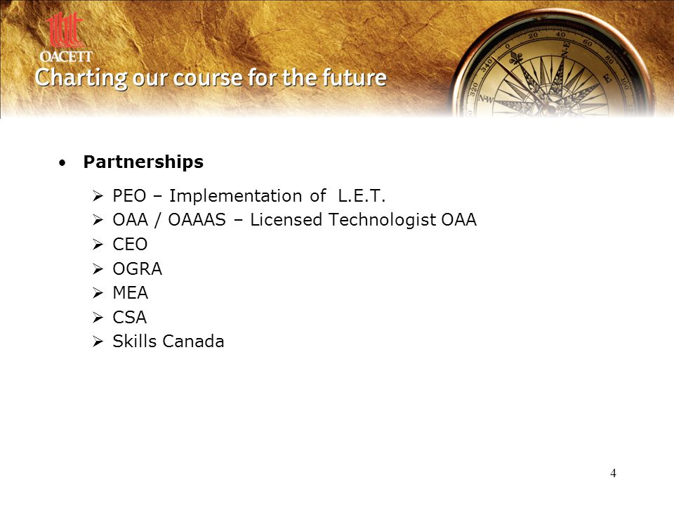 4 Partnerships  PEO – Implementation of L.E.T.
