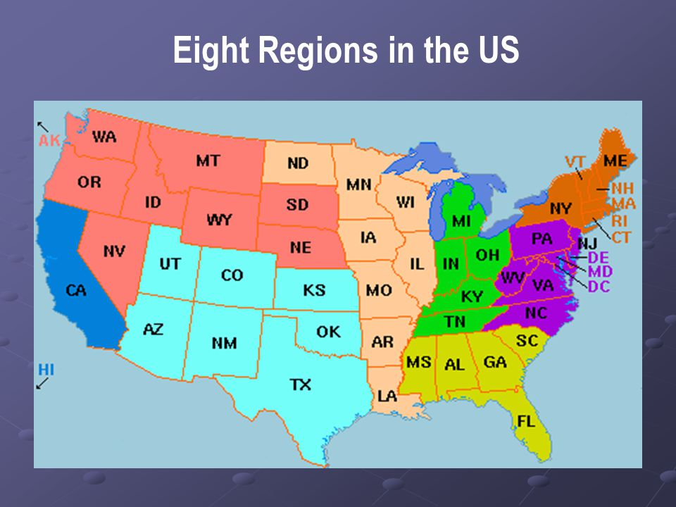 Eight Regions in the US