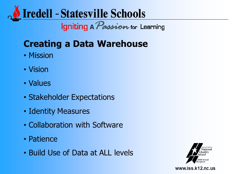 www.iss.k12.nc.us Creating a Data Warehouse Mission Vision Values Stakeholder Expectations Identity Measures Collaboration with Software Patience Build Use of Data at ALL levels