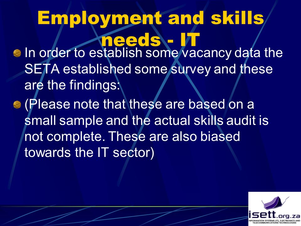 Employment and skills needs - IT In order to establish some vacancy data the SETA established some survey and these are the findings: (Please note that these are based on a small sample and the actual skills audit is not complete.