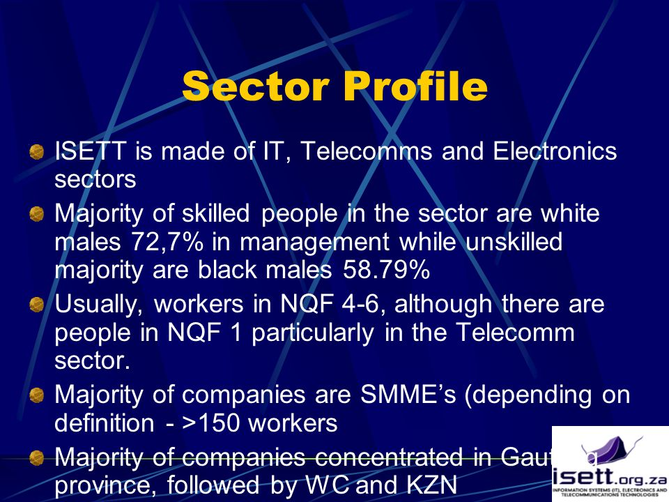 Sector Profile ISETT is made of IT, Telecomms and Electronics sectors Majority of skilled people in the sector are white males 72,7% in management while unskilled majority are black males 58.79% Usually, workers in NQF 4-6, although there are people in NQF 1 particularly in the Telecomm sector.