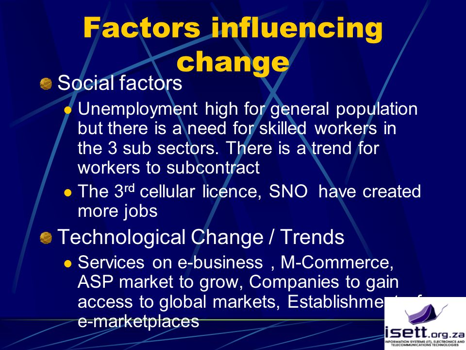 Factors influencing change Social factors Unemployment high for general population but there is a need for skilled workers in the 3 sub sectors.