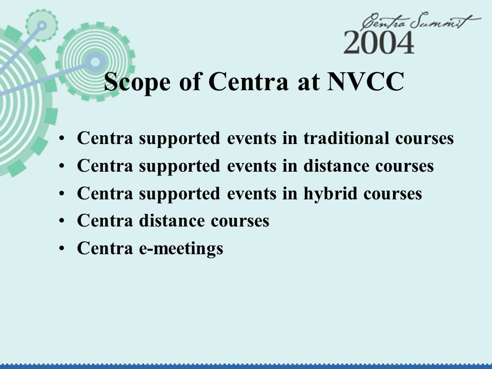 Scope of Centra at NVCC Centra supported events in traditional courses Centra supported events in distance courses Centra supported events in hybrid courses Centra distance courses Centra e-meetings
