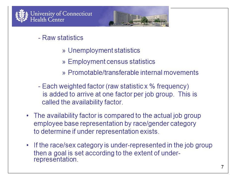 7 - Raw statistics »Unemployment statistics »Employment census statistics »Promotable/transferable internal movements - Each weighted factor (raw statistic x % frequency) is added to arrive at one factor per job group.