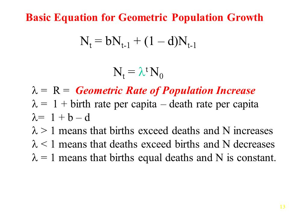 13 Basic Equation for Geometric Population Growth = R = Geometric Rate of Population Increase = 1 + birth rate per capita – death rate per capita = 1 + b – d > 1 means that births exceed deaths and N increases < 1 means that deaths exceed births and N decreases = 1 means that births equal deaths and N is constant.