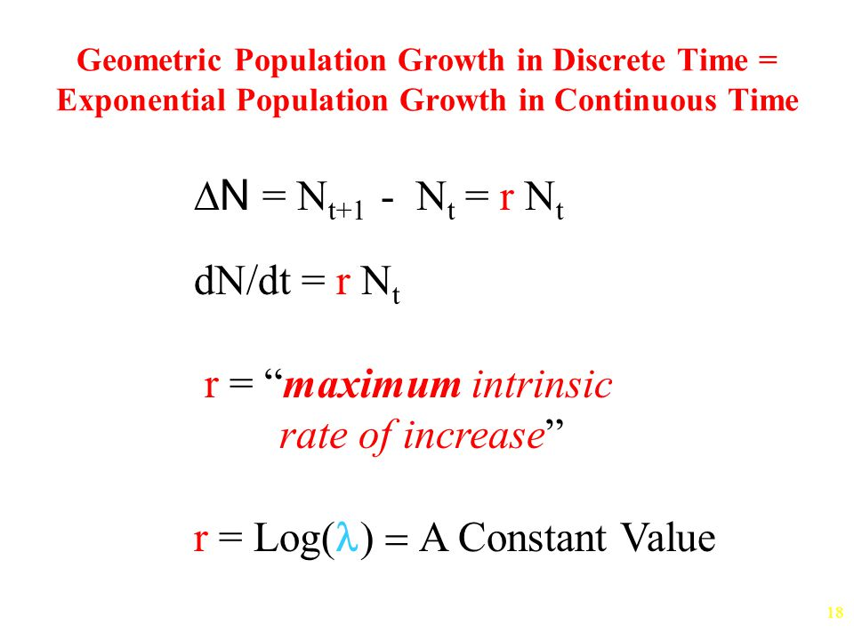 18 Geometric Population Growth in Discrete Time = Exponential Population Growth in Continuous Time  N = N t+1 - N t = r N t dN/dt = r N t r = maximum intrinsic rate of increase r = Log  A Constant Value