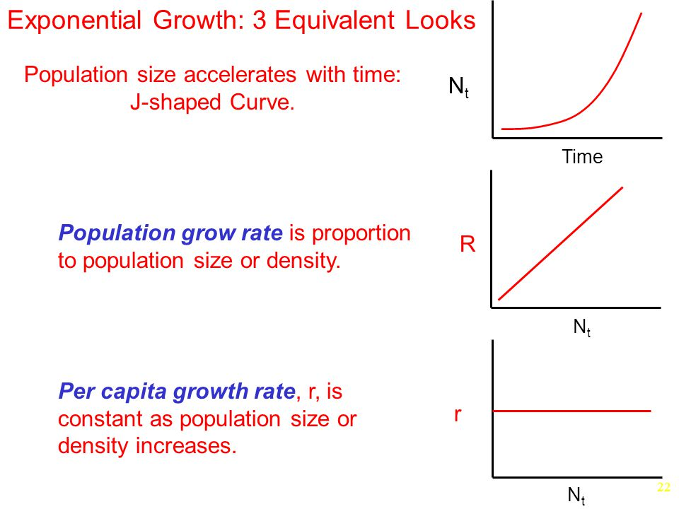 22 Exponential Growth: 3 Equivalent Looks Population grow rate is proportion to population size or density.
