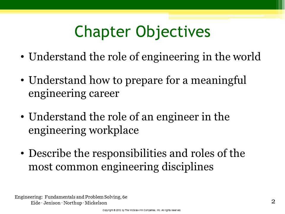 Engineering: Fundamentals and Problem Solving, 6e Eide  Jenison  Northup  Mickelson Copyright © 2012 by The McGraw-Hill Companies, Inc. All rights