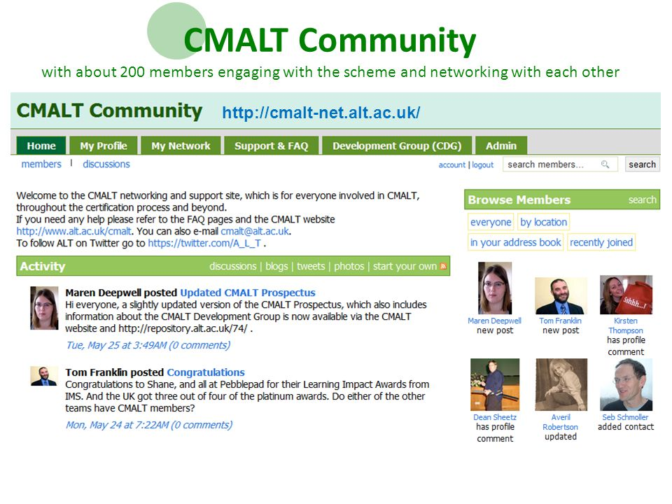 CMALT Community with about 200 members engaging with the scheme and networking with each other http://cmalt-net.alt.ac.uk/